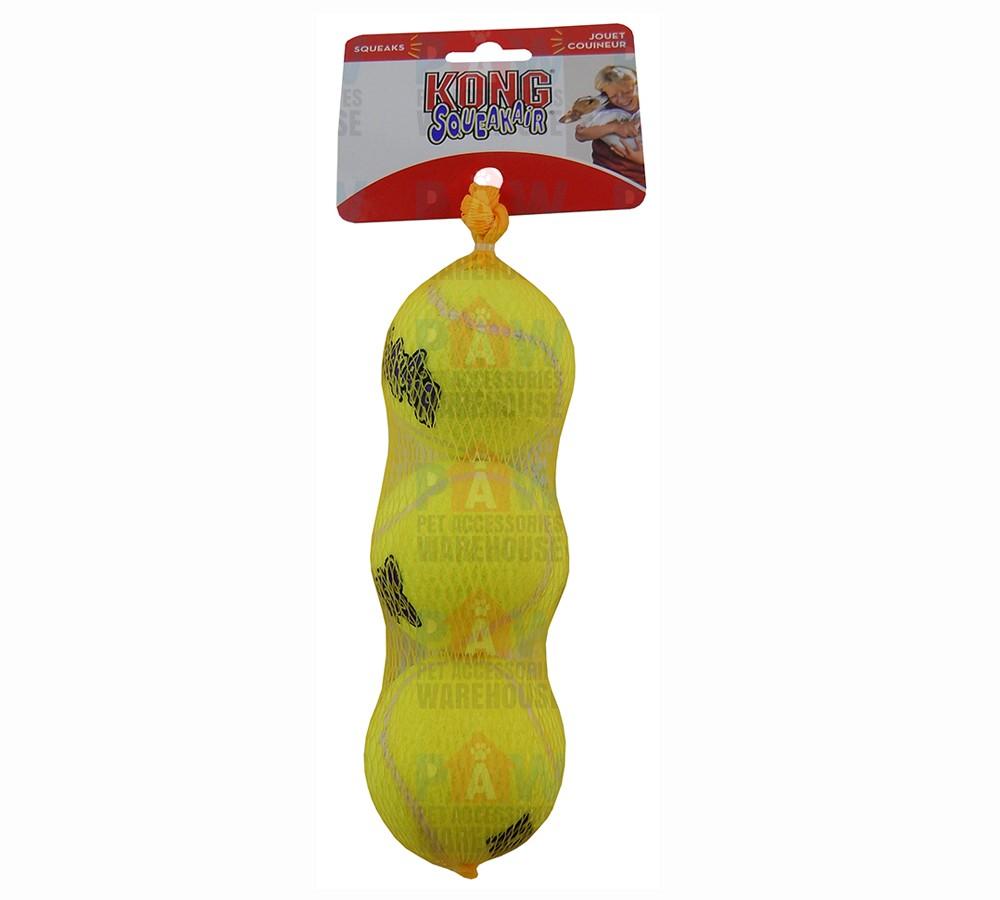 Kong Air Dog Squeaker Tennis Balls Medium - Pack of 3