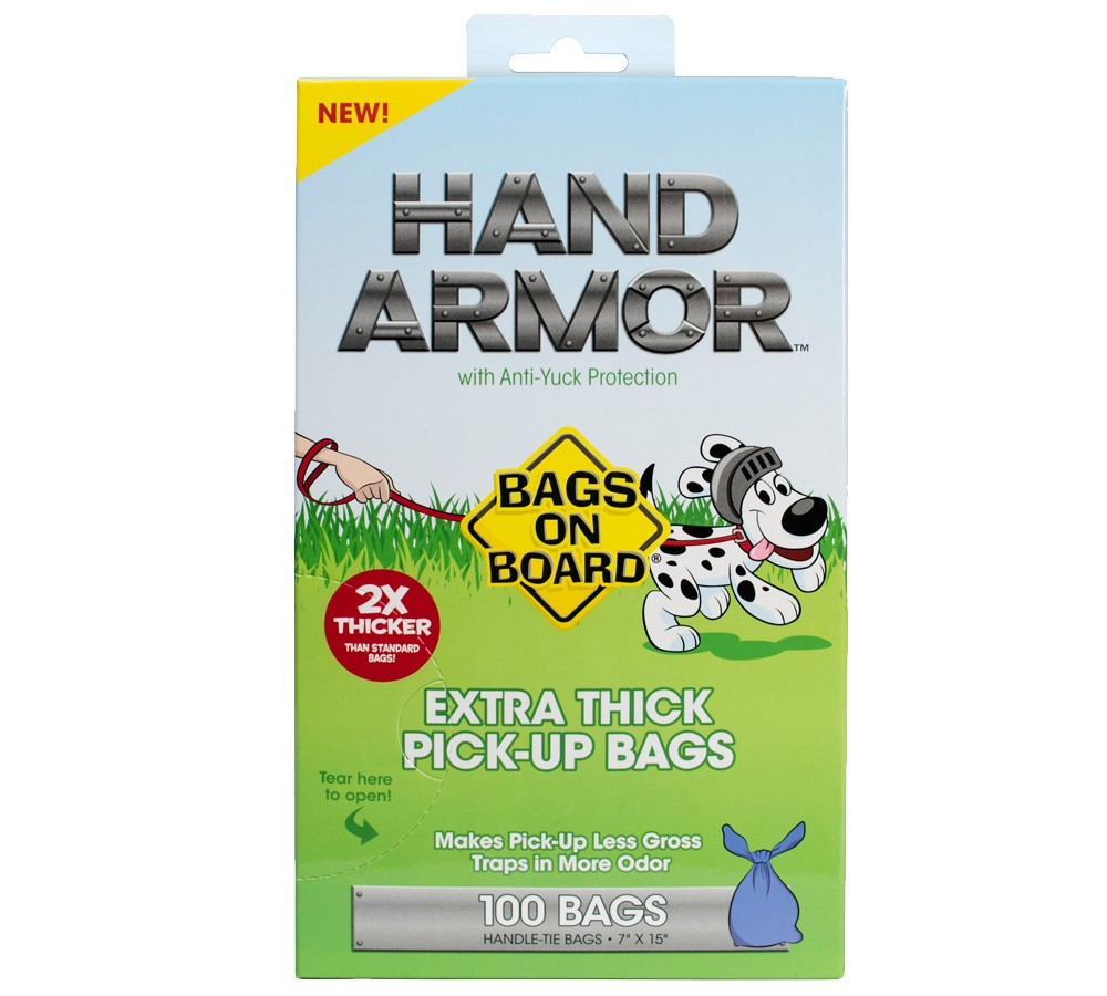 Bags On Board Hand Armor Extra Thick Bags 100 Pack Doggie Poop Bags