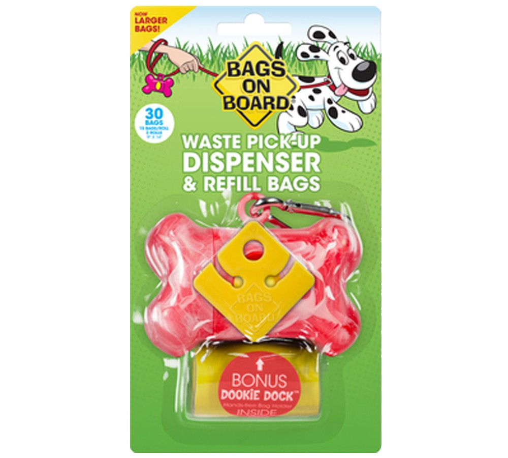 Bags On Board Pink Marble Bone Dispenser with 30 Doggie Poop Bags