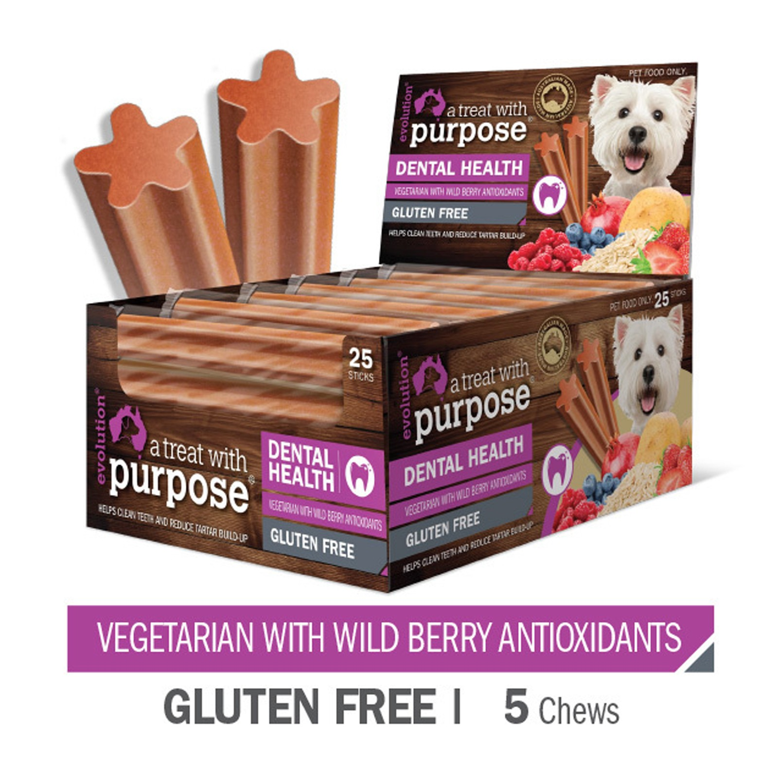 Evolution Dental Sticks for Dogs Wild Berry Treats - 5 Pack