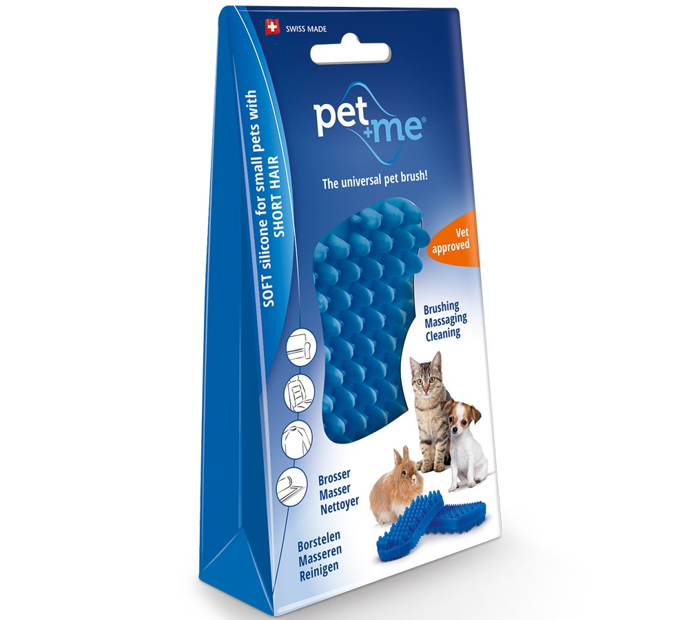 Pet+Me Silicone Grooming Brush Blue