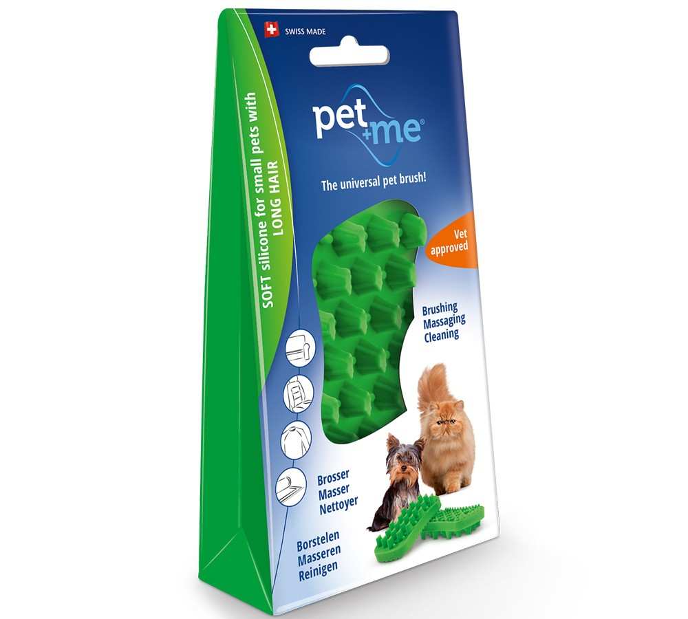 Pet+Me Silicone Grooming Brush Green