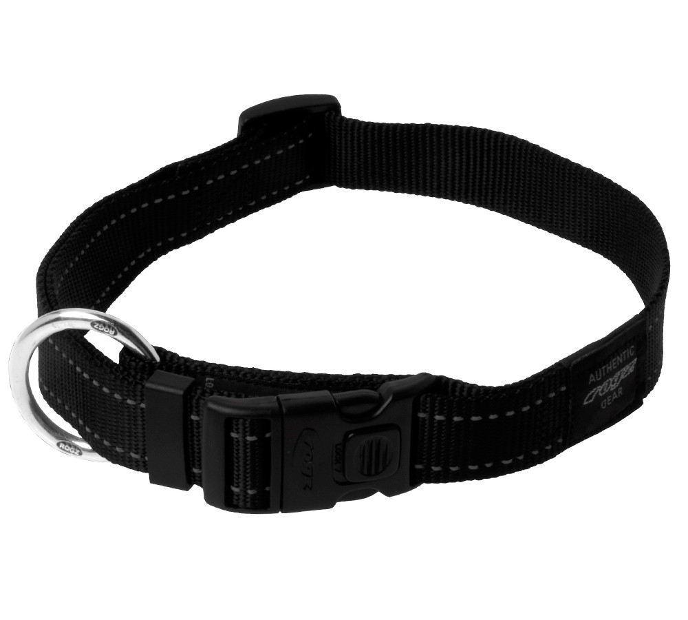 Rogz Utility Collar For Dogs - Fanbelt 20mm 34-56cm Large - Black