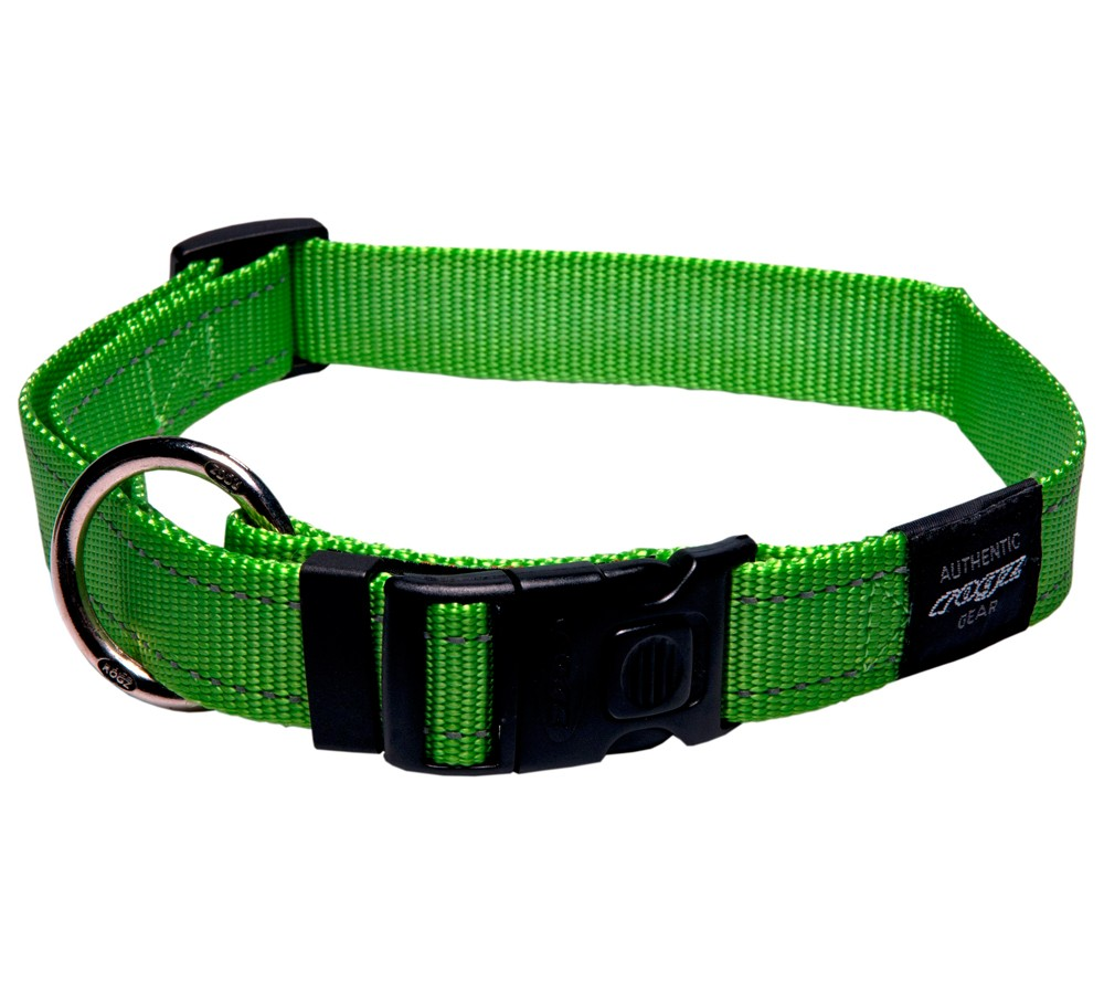 Rogz Utility Collar For Dogs - Snake 16mm 26-40cm Medium - Lime