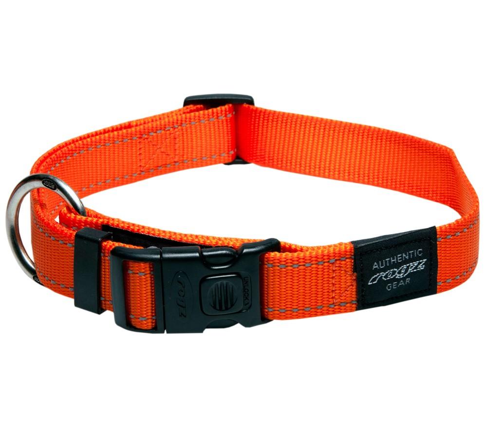 Rogz Utility Collar For Dogs - Fanbelt 20mm 34-56cm Large - Orange