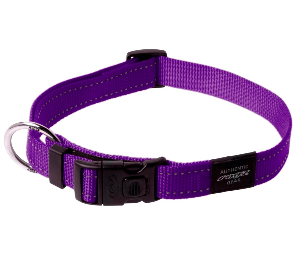 Rogz Utility Collar For Dogs - Fanbelt 20mm 34-56cm Large - Purple