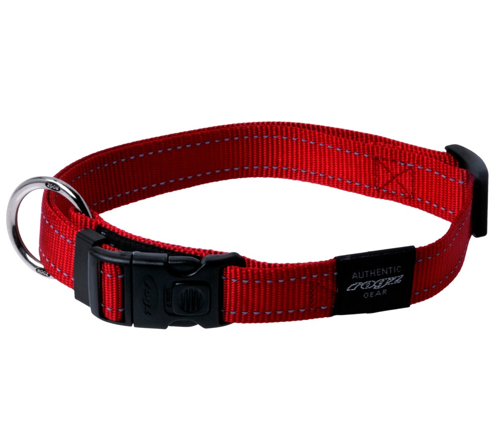Rogz Utility Collar For Dogs - Fanbelt 20mm 34-56cm Large - Red