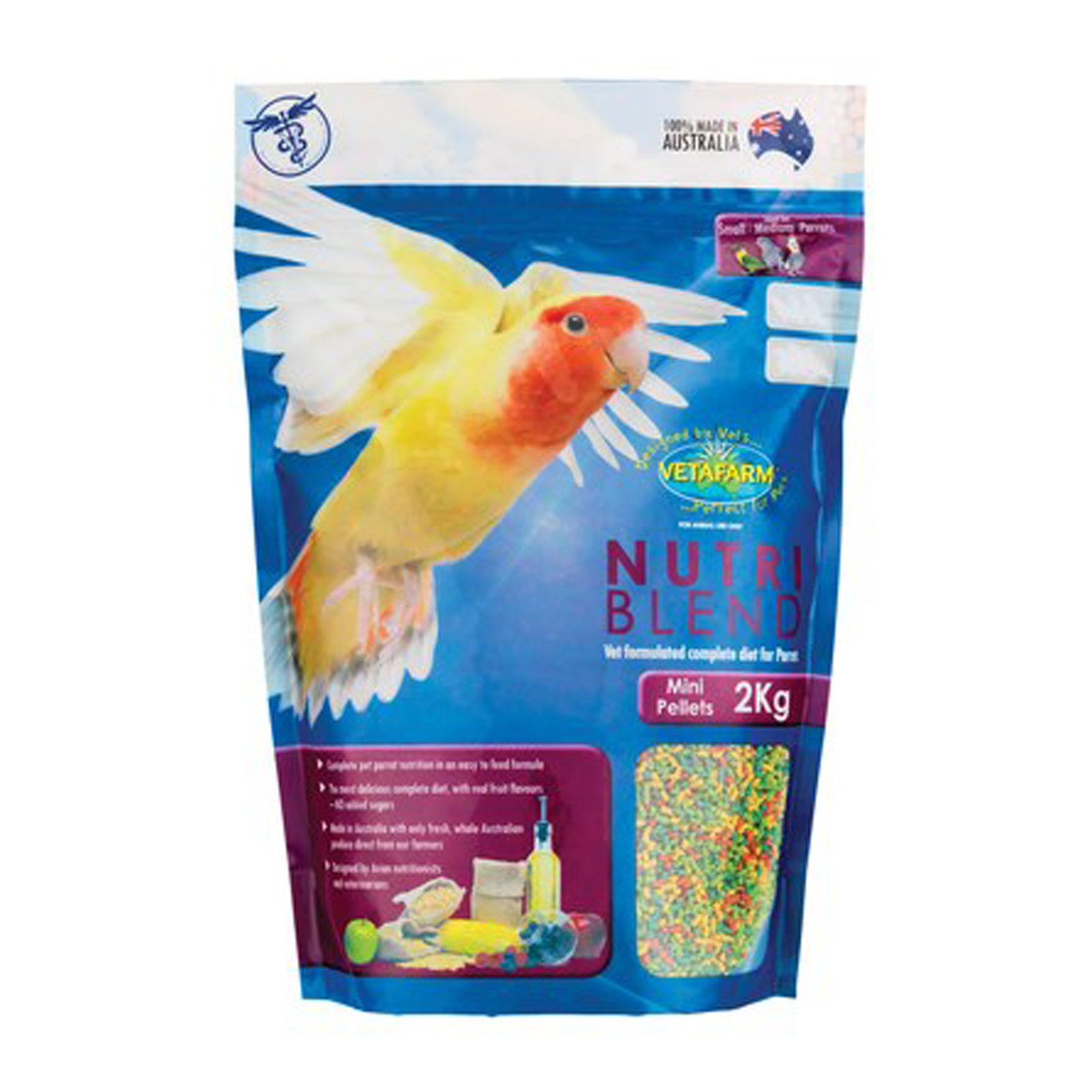 Vetafarm Nutriblend Mini Pellets 2kg - For Small to Medium Parrots Birds