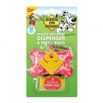 Bags On Board Pink Marble Bone Dispenser with 30 Doggie Poop Bags