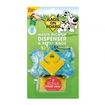Bags On Board Turquoise Marble Bone Dispenser with 30 Doggie Poop Bags