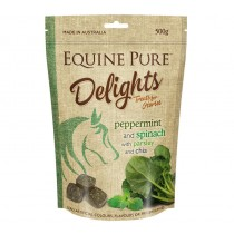 Equine Pure Delights Treats For Horses - Peppermint Spinach Parsley & Chia 500gm