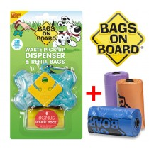 Bags On Board Dog Poop Pickup Bags and Holder Set