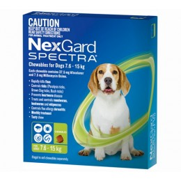 Nexgard Spectra Chewables for Dogs Green 7.6-15kg - 6 Pack